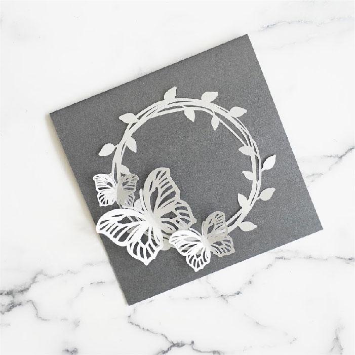 Butterfly wreath card