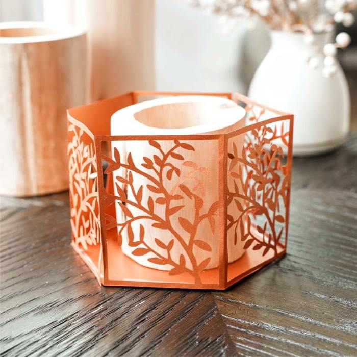 Foliage hex tealight holder
