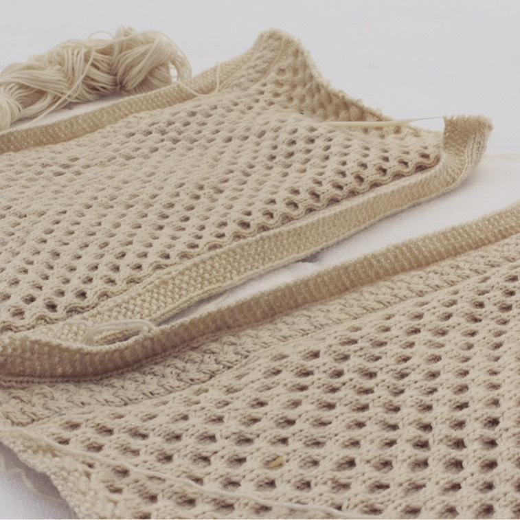 Honeycomb knit front pieces of worket knit with Fisherman's Wool.