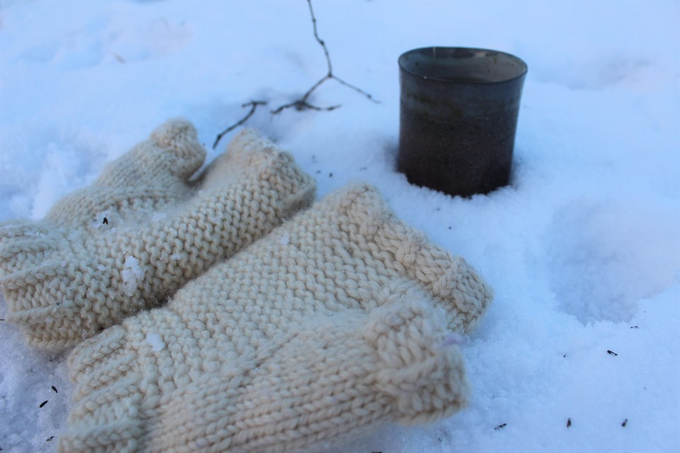 Masonry Mitts sitting in snow.