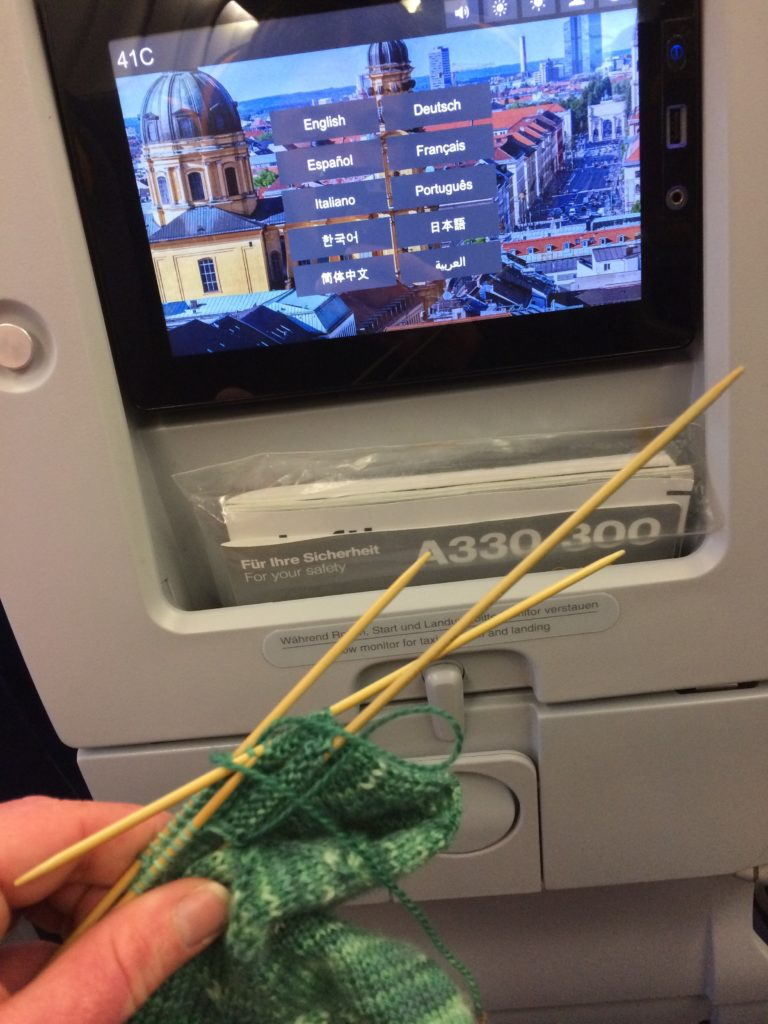 Knitting Business Casual Socks on airplane