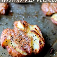BEST EVER Salty Herbed Smashed Red Potatoes