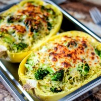 Broccoli Cheese Stuffed Spaghetti Squash