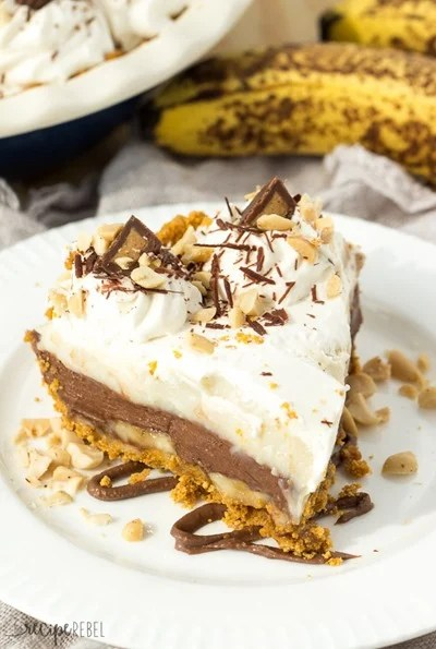 No Bake Reese Peanut Butter Chocolate Banana Cream Pie by The Recipe Rebel
