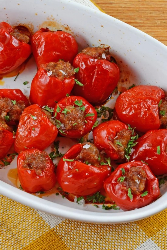 Stuffed peppers in a bowl.