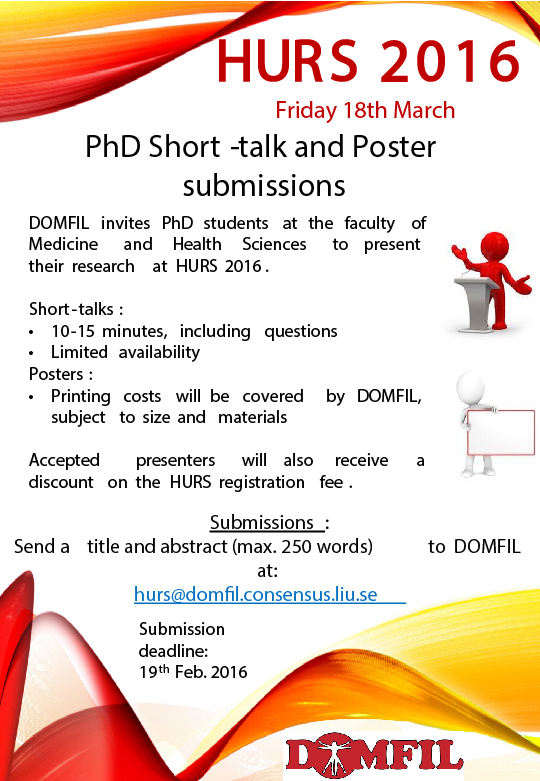 http domfil se hurs 2016 call for phd short talk poster submissions and best scientific paper award