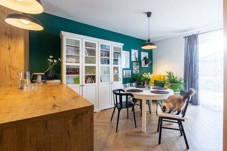 Salon z białym regałem i turkusowo zieloną ścianą