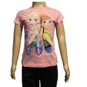 T-shirt manches courtes rose La reine des neiges