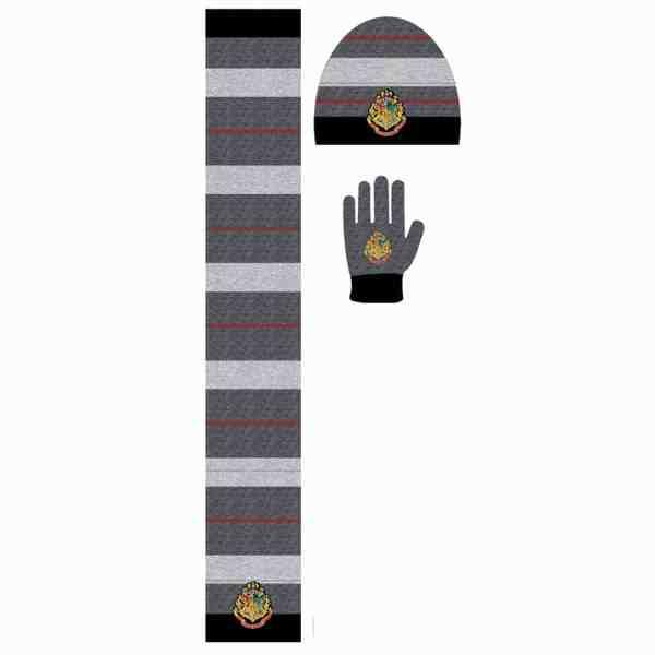 Ensemble bonnet, gants, écharpe Harry Potter le gris
