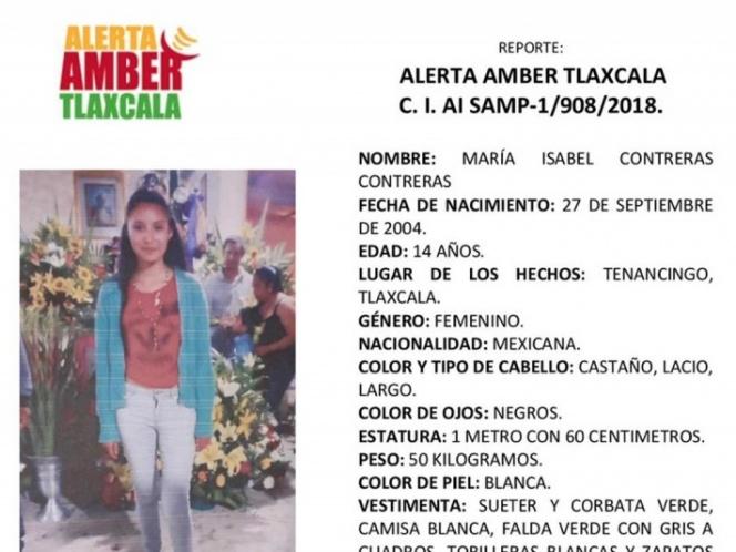 MARÍA ISABEL, DE 14 AÑOS, DESAPARECIÓ DE CAMINO A SU ESCUELA