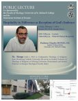 """This poster promoted a public lecture by Claudio Monge entitled """"Hospitality to Difference as Reception of God's Embrace."""" The poster includes a picture of a smiling Monge, his biography and pictures of the Faculty of Theology at the University of St. Michael's College."""
