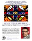 This poster names Rev. Fr. Peter A. Spichtig, OP as Aquinas Visiting Scholar, Spring 2014. It includes a stained glass picture, a picture Spichtig and a summary of his research.
