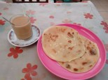 Breakfast of milky tea and chapati TZS 1200