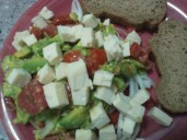 Salad with Mozarella, all local ingredients, homemade (TZS 2000)
