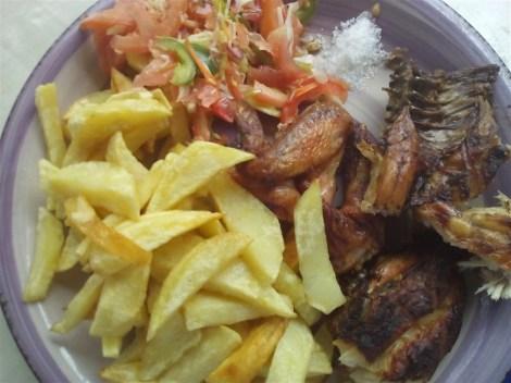 French fries with salad and BBQ chicken (Chipsy na kuku robo, TZS 3000) at Migo Migo, Dar es Salaam