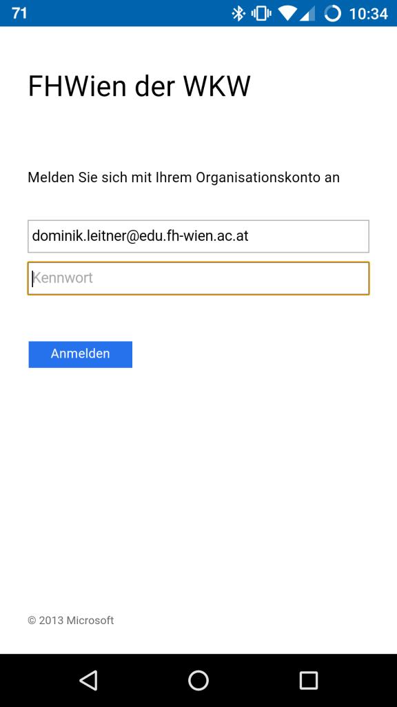 Schritt 2: Das Login-Fenster der FH-Wien - jetzt nur mehr das Passwort eingeben - das wars.