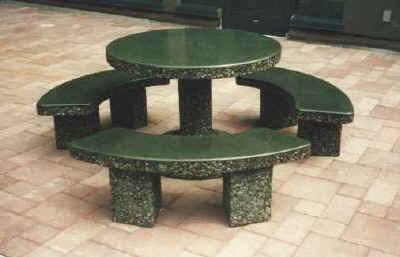 classic stone round patio table set