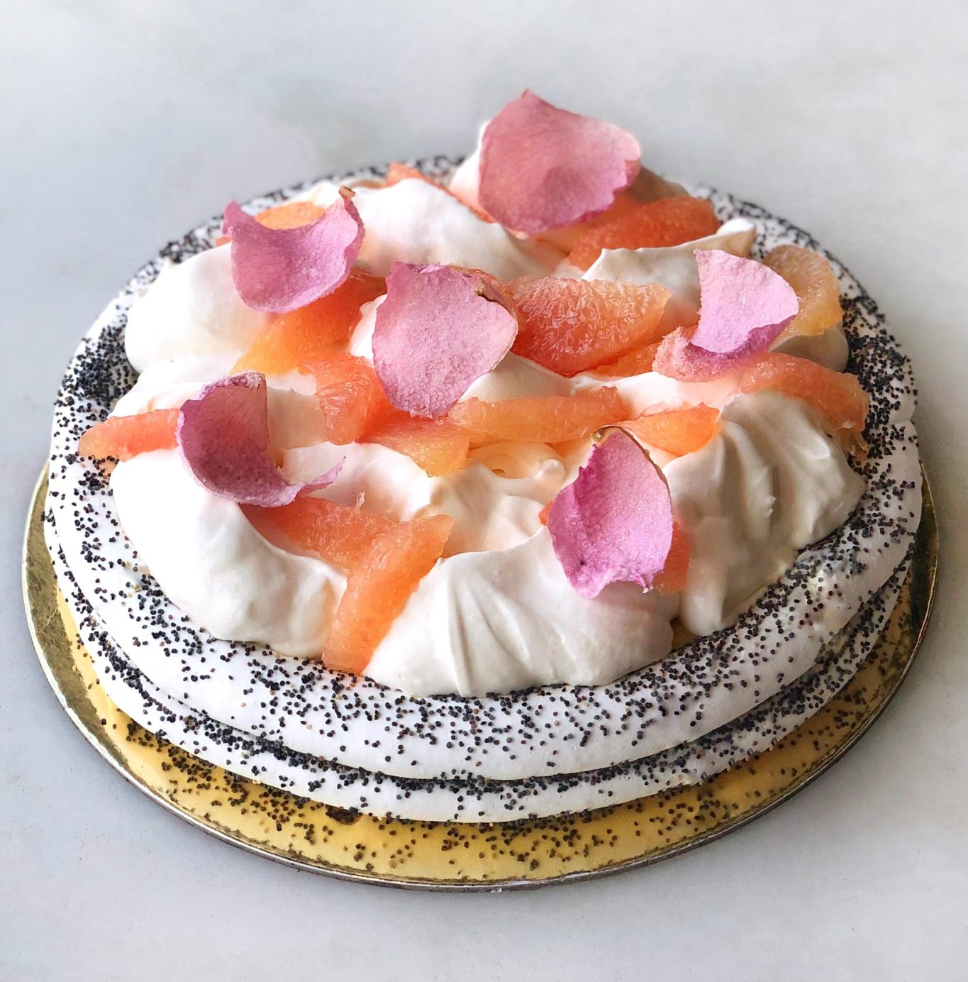 DAB large grapefruit rose poppyseed pavlova