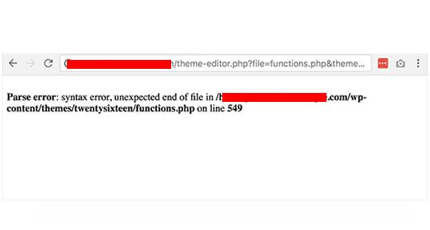 Syntax Error WordPress
