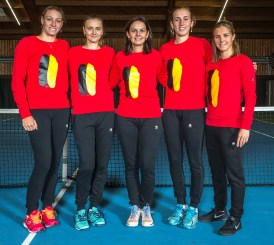 "Tennis / Belgium Fed Cup Team / Topsportcentrum Tennis Vlaanderen. Yanina Wickmayer, Maryna Zanevska, Dominique Monami, Elise Mertens en Kirsten Flipkens het Fed Cup team voor in Roemenië 04/02/2017 ""for more images ""www.waltersaenen.com"""