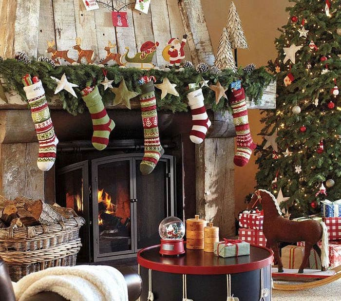 Christmas socks on the fireplace, in which presents are sure to appear after midnight