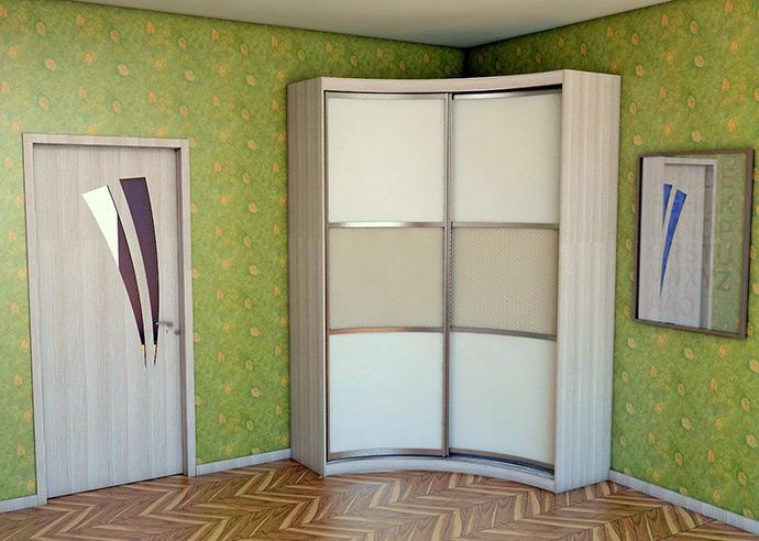 Угловой шкаф купе в спальне