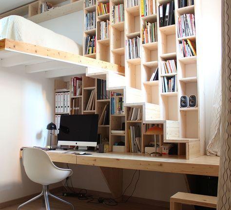 Книжные шкафы и полки - фото