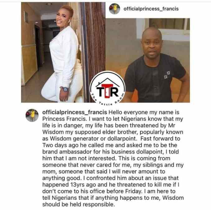 """""""My elder brother, Wisdom is trying to k!ll me"""" – Evicted housemate, Princess raises alarm"""