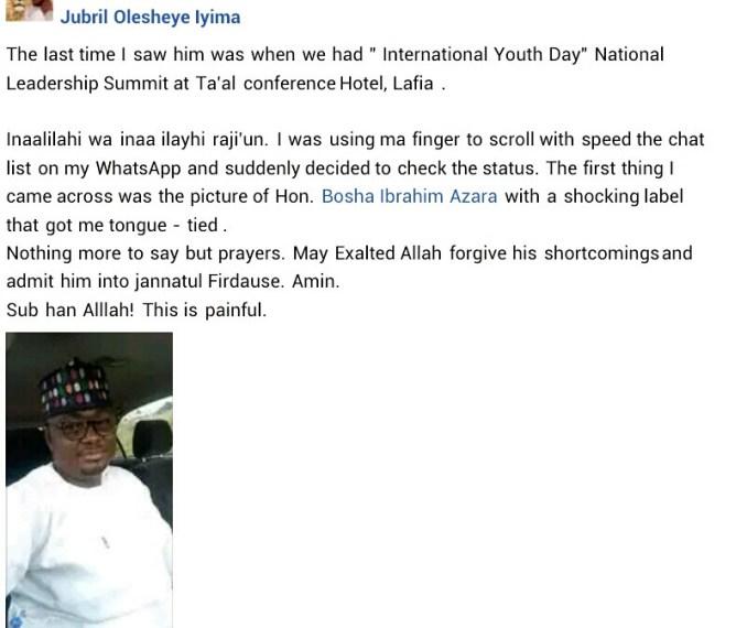 Chairman of Nasarawa APC National Youth Vanguard dies in his sleep