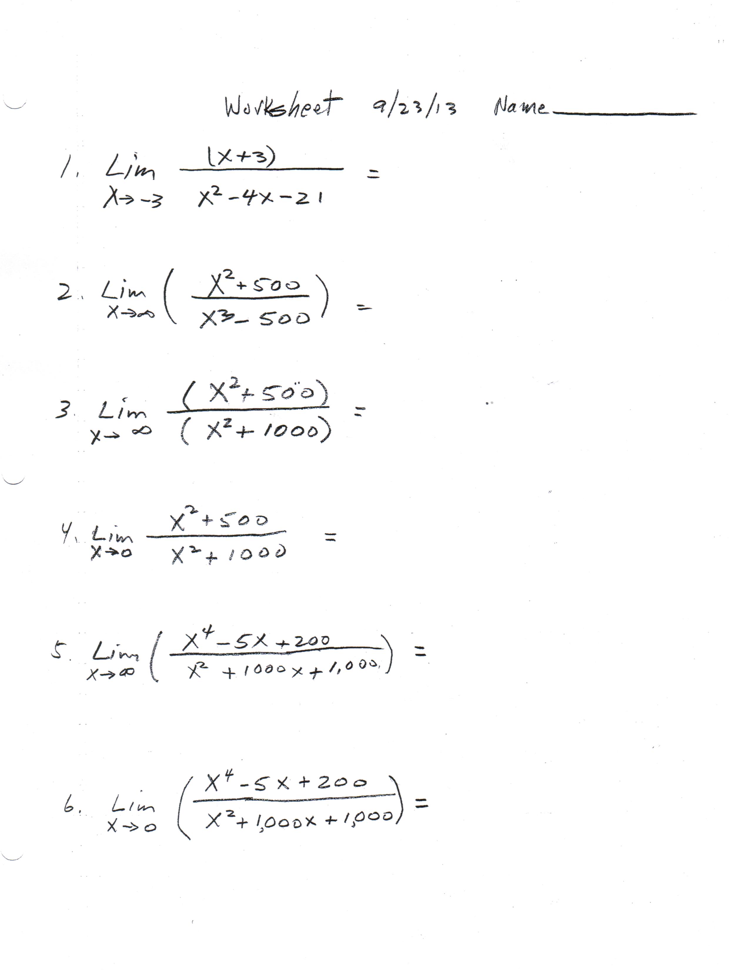 Printables Of Calculus Limits Worksheet Practice