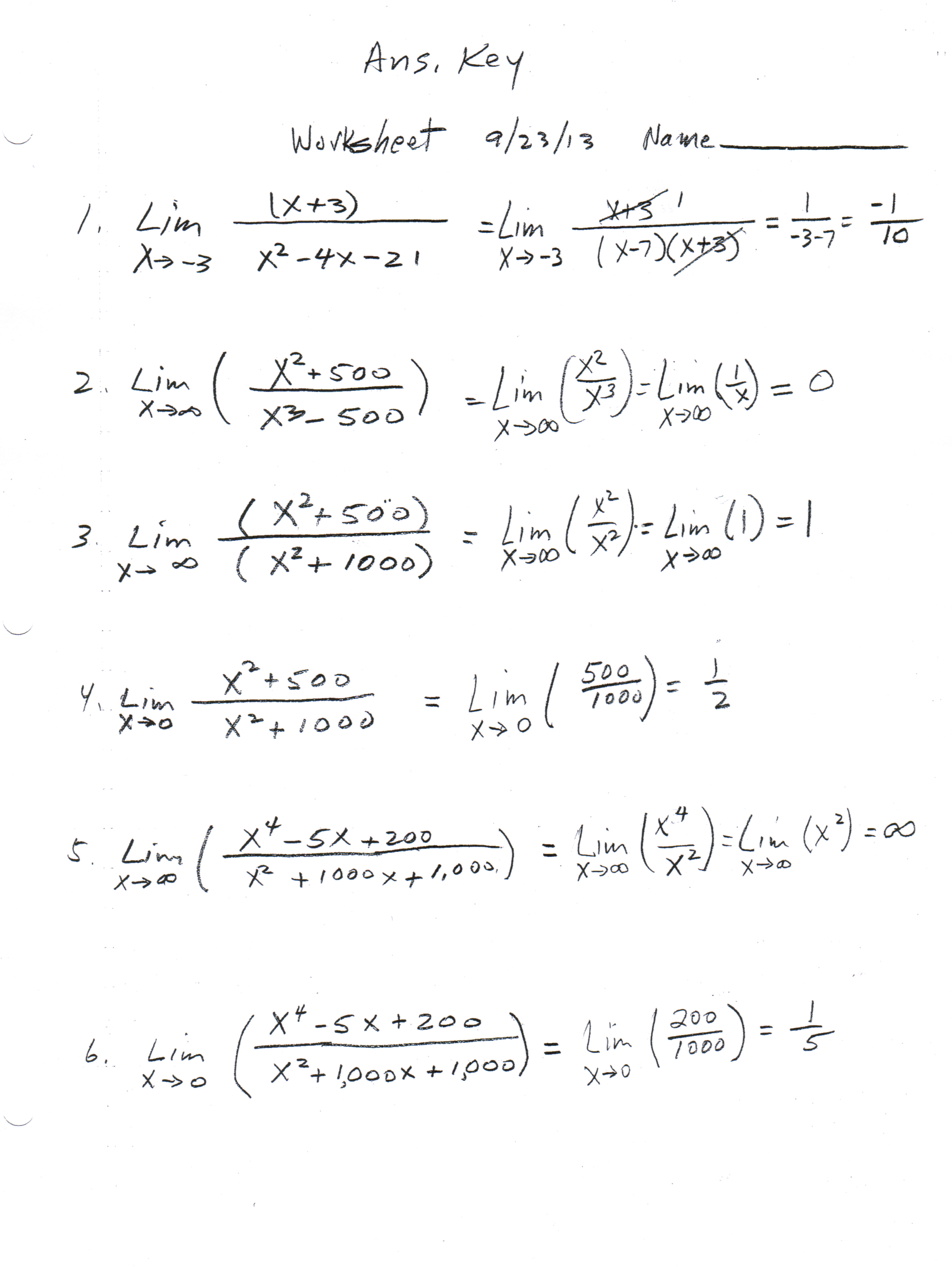 Calculus Limits Worksheet With Answers