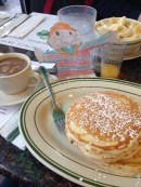 Yummy! Pancakes, coffee & OJ at a NYC diner!