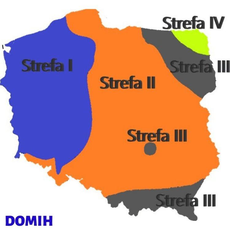 Mapa polski z podziałem na strefy przemarzania gruntu - rodzaje fundamentów