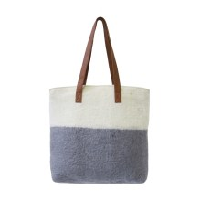 Felted grey and cream bag