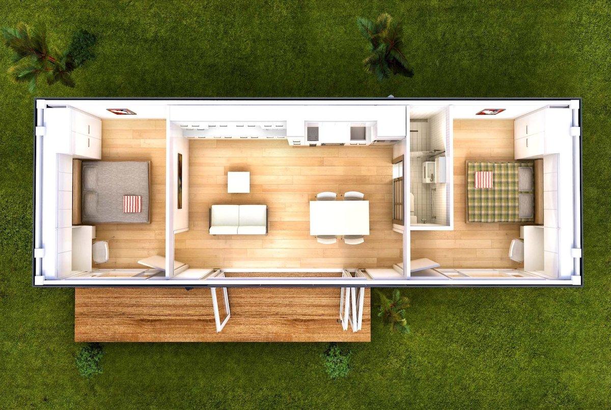 Habitaciones de planificación dentro de una casa modular.