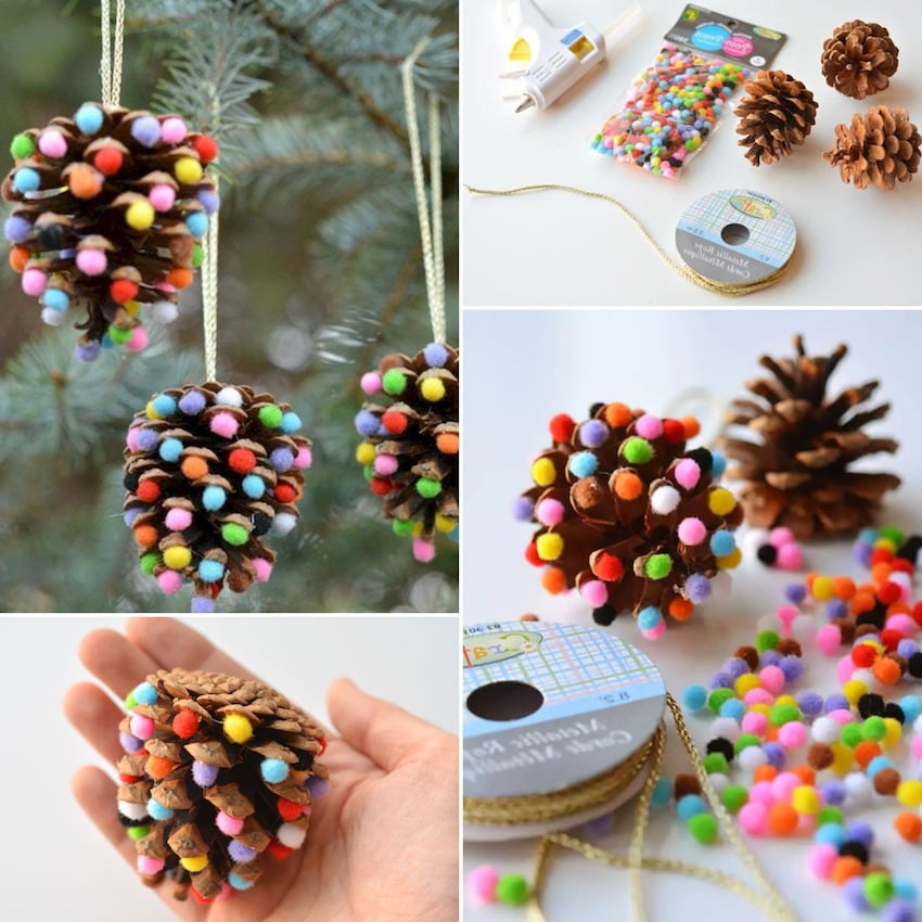 Multi-colored felt balls can be glued to the open petals of a pine cone, thereby you will receive an original decoration for the Christmas tree
