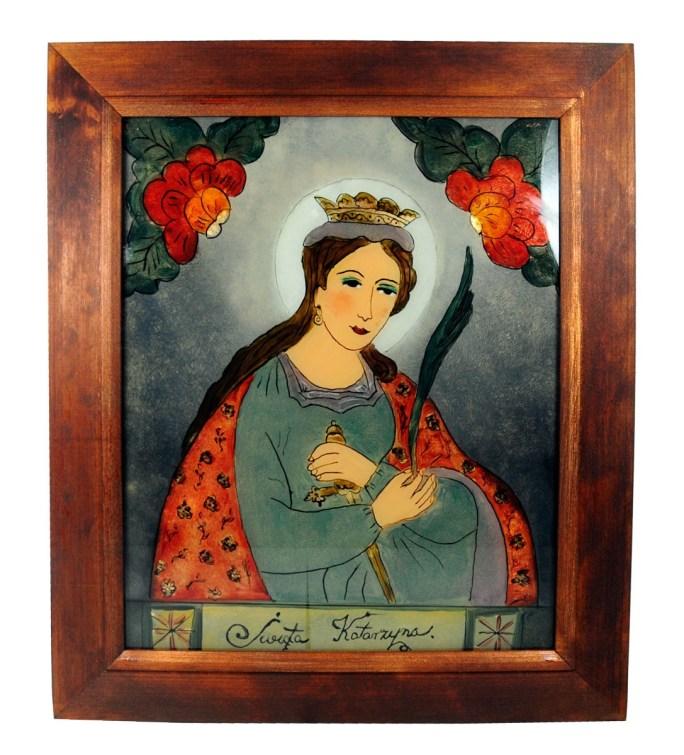 Obraz malowany na szkle - Św. Katarzyna