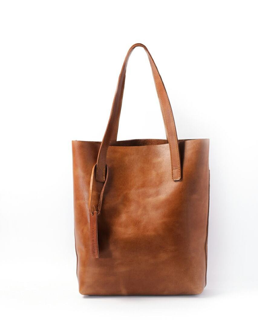 Leather tote bag double pockets