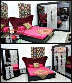 غرفة-نوم-مودرن-بسرير-أحمر-تنجيد