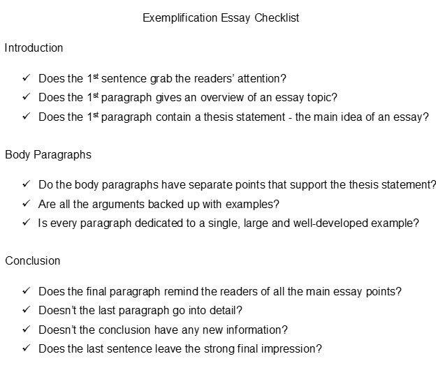 Sample Exemplification Essay Salod