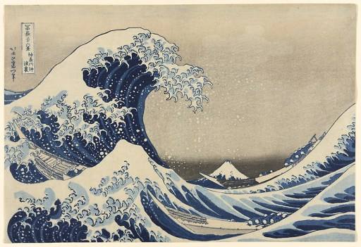 "A crashing wave looms over two small ships, Mount Fuji in the background. Under the Wave off Kanagawa (Kanagawa oki nami ura), also known as the Great Wave, from the series ""Thirty-six Views of Mount Fuji (Fugaku sanjurokkei)"", c. 1830/33 Katsushika Hokusai"