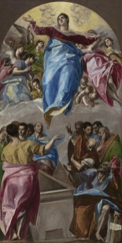 Painting of the Virgin Mary ascending to heaven amongst multitude of angels. The Assumption of the Virgin, 1577–79 Domenico Theotokópoulos, called El Greco