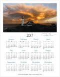 2017 lighthouse one page calendar