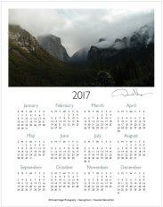 2017 yosemite one page calendar