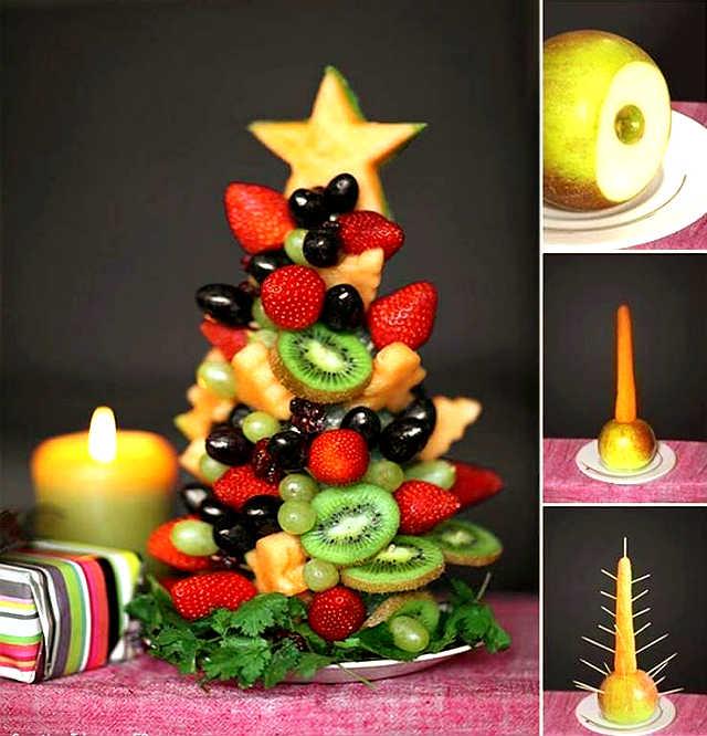 Passo a Passo de Como Fazer Árvore de Natal de Frutas para Enfeitar a Mesa