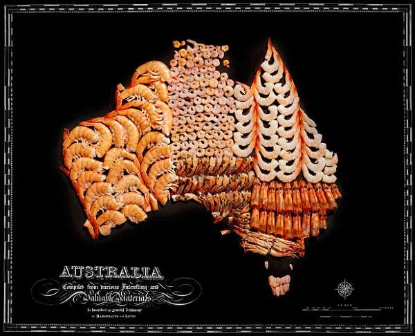 Mapa com Comida Típica de Cada Região Austrália