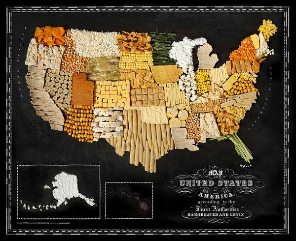 Mapa com Comida Típica de Cada Região  Estados Unidos