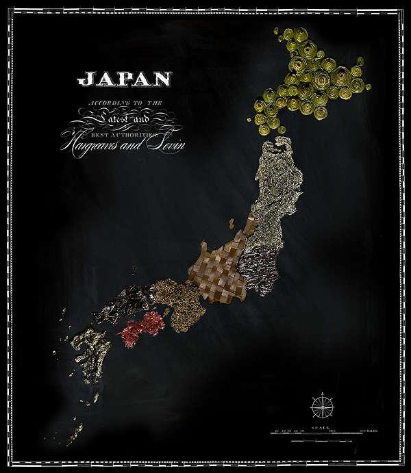 Mapa com Comida Típica de Cada Região Japão
