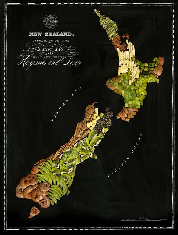 Mapa com Comida Típica de Cada Região  Nova Zelândia