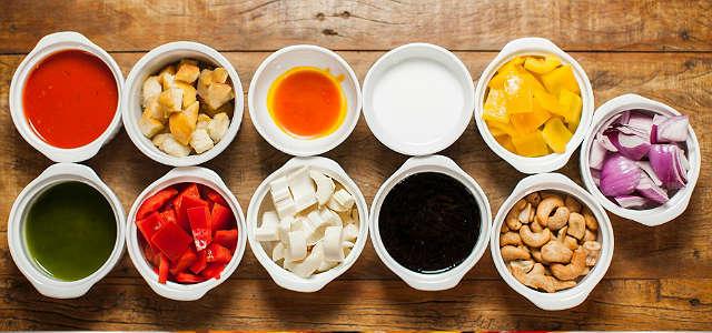 ingredientes para Moqueca Vegetariana com Castanha, Caju e Palmito Pupunha